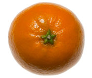 Green star on tangerine top. Close-up of citrus isolated on white Stock Photo