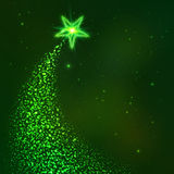 Green star way vector Christmas tree Royalty Free Stock Image