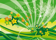 Green Stars. A landscape format abstract background image with swirls and stars in shades of green and orange Royalty Free Illustration