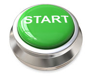 Green start button. 3D computer generated green button with white text graphics start framed in chrome on white background Royalty Free Stock Image