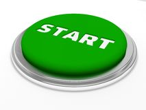 Green start button isolated. Over white Stock Photos