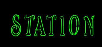 Green  station neon sign Royalty Free Stock Photo