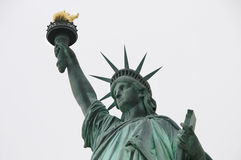 Green Statue Liberty. Statue of Liberty on the gray sky Stock Photos