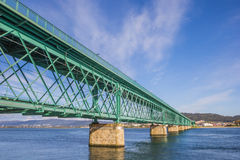 Green steel bridge in Viana do Castelo Royalty Free Stock Photography
