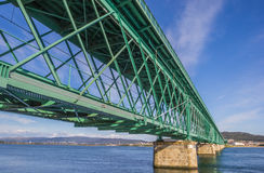 Green steel bridge in Viana do Castelo Royalty Free Stock Photos