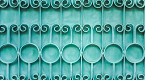Green steel fence. Old green steel decorative fence, lined pattern Royalty Free Stock Image