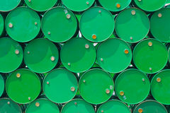 Green steel tank or oil fuel toxic chemical barrels. Stock Images