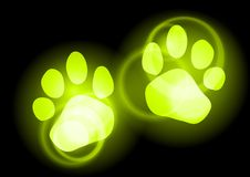 Green step. Animal step as green neon light Stock Photo