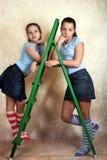 Green step-ladder Stock Photos