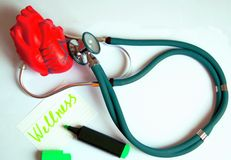 Green stethoscope with red heart. Modern green stethoscope with red heart on white background with pencil, writen wellness Stock Images