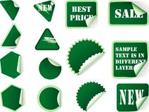 Green stick labels Stock Images