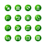 Green sticker building icons Stock Photos