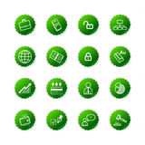 Green sticker business icons Stock Photo