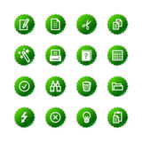 Green sticker document icons Stock Photos