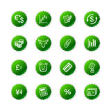 Green sticker finance icons. Vector icons, green sticker series Royalty Free Stock Photography