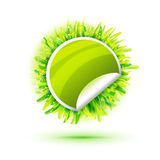 Green sticker with green realistic grass Royalty Free Stock Images
