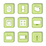 Green sticker with icon 9 Royalty Free Stock Images
