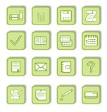 Green sticker with icon 9. Vector Stock Photo