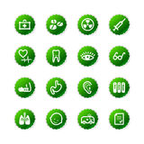 Green sticker medicine icons Royalty Free Stock Images