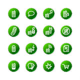 Green sticker mobile phone ico Royalty Free Stock Photos