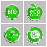Green sticker Natural, Bio, Eco product Set. Vector Natural product icon for packaging design, web-design, advertising booklets, Bio logo creation, natural Stock Images