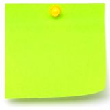 Green Sticker on a White Background. Green Sticker whith a yellow pin on a White Background Royalty Free Stock Image