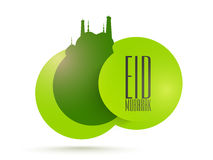 Green sticky design for Eid festival celebration. Royalty Free Stock Photo