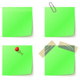 Green sticky notice papers Stock Photos