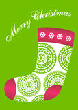 Green stocking christmas card Stock Photos