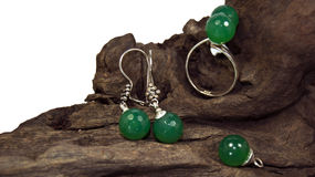 Green stone jewel set Royalty Free Stock Image