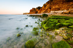 Green Stones at Porto de Mos Beach in Lagos, Algarve Royalty Free Stock Image
