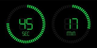Green stopwatch countdown digital timer vector illustration