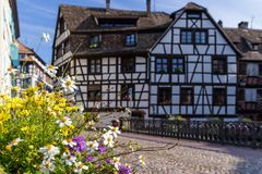 Street in Strasbourg with flower decoration. Royalty Free Stock Photography