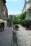 Green street in San-Marino Royalty Free Stock Image