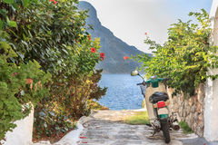 Green street scooter on Greek Kalymnos island Royalty Free Stock Photography