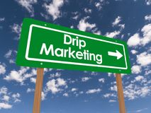 Drip marketing street sign. Green street sign with DRIP MARKETING and an arrow to the side in white on two wooden posts, isolated on a blue sky and cloud Royalty Free Stock Photos