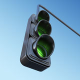 Green street traffic light on sky. 3D illustration Stock Images