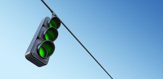 Green street traffic light on sky. 3D illustration Stock Image