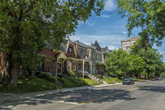 Green street view Westmount. Old brick house in Westmount, Quebec, Canada. Westmount is an affluent suburb on the Island of Montreal, in southwestern Quebec stock photos