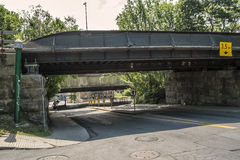 Green street view Westmount. Overpass on Green street Westmount, Quebec, Canada. Westmount is an affluent suburb on the Island of Montreal, in southwestern royalty free stock image