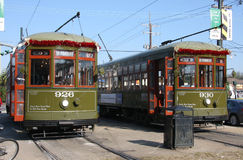 Green streetcar stock photo