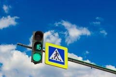 Green streetlight signal stock image