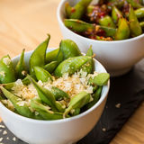 Green string beans chinese dish with spices Stock Photos
