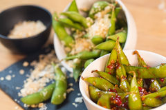 Green string beans chinese dish with spices Royalty Free Stock Photos