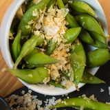 Green string beans chinese dish with spices Stock Images