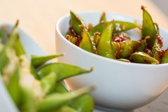 Green string beans chinese dish with spices Royalty Free Stock Photography