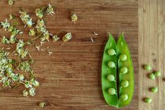 Green string of peas on wooden kitchen stock image