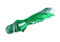 Green strip gray umbrella Stock Photo