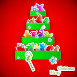 Green stripe christmas paper tree Stock Image