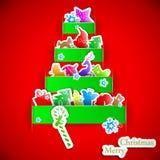 Green stripe christmas paper tree. Vector illustration Stock Image